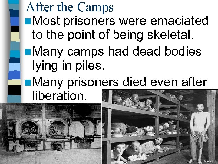 After the Camps n Most prisoners were emaciated to the point of being skeletal.