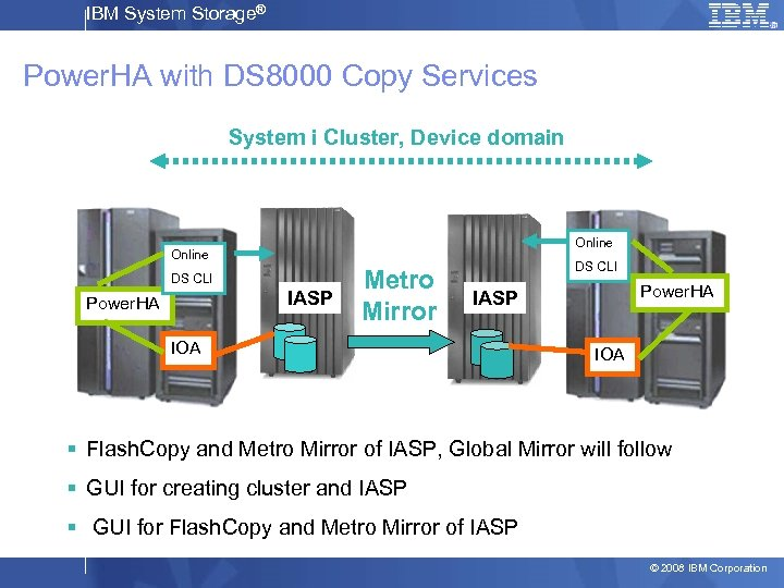 IBM System Storage® Power. HA with DS 8000 Copy Services System i Cluster, Device