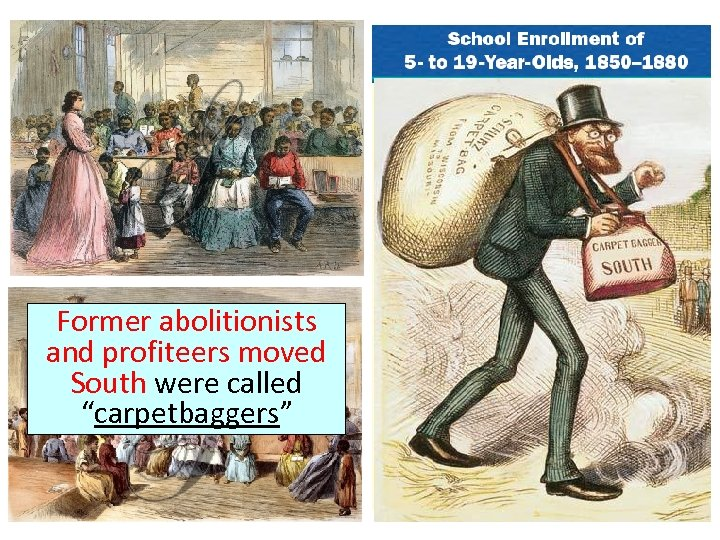 "Former abolitionists and profiteers moved South were called ""carpetbaggers"""