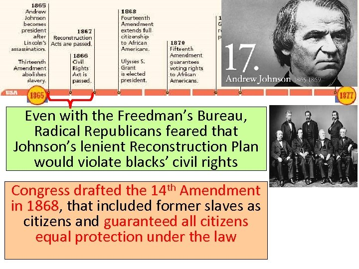 Reconstruction: 1865 -1877 Even with the Freedman's Bureau, Radical Republicans feared that Johnson's lenient