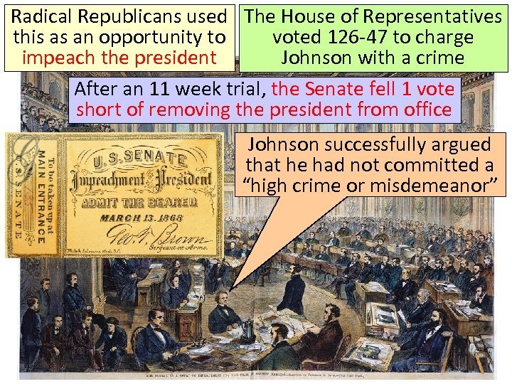 Radical Republicans used The House of Representatives this as an opportunity to voted 126