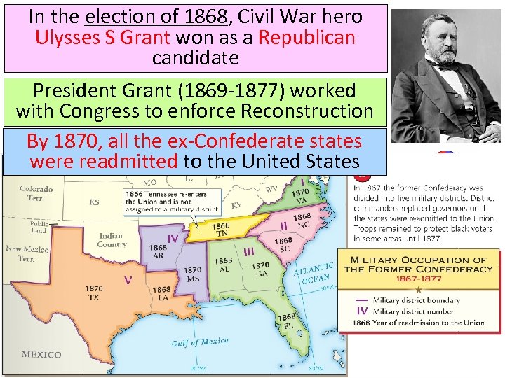 In the election of 1868, Civil War hero Ulysses S Grant won as a