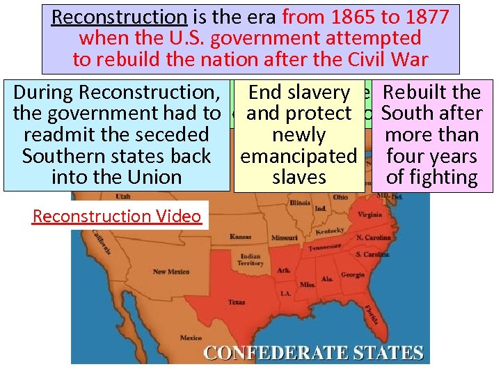 Reconstruction is the era from 1865 to 1877 when the U. S. government attempted