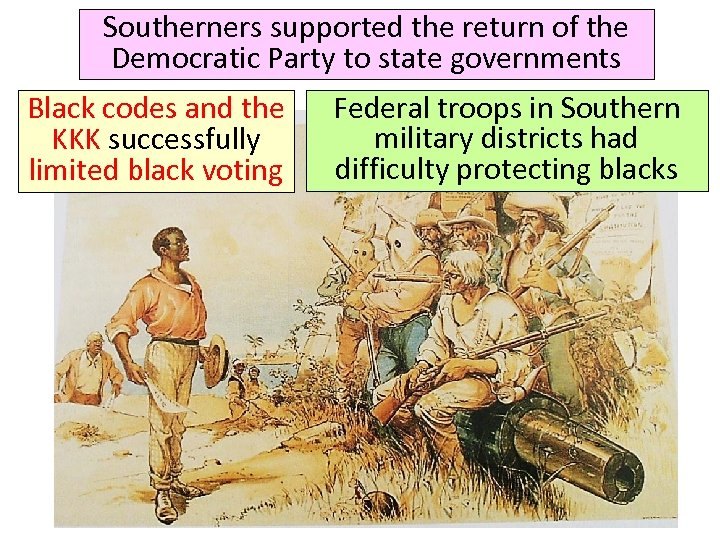 Southerners supported the return of the Democratic Party to state governments Black codes and
