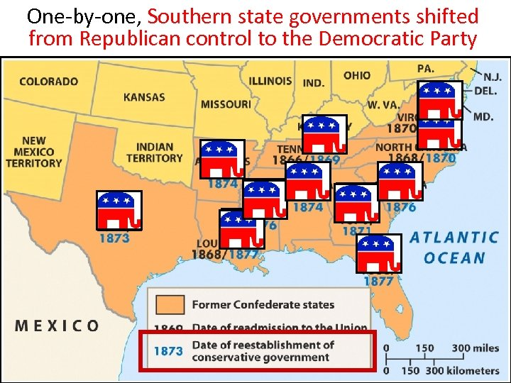 One-by-one, Southern state governments shifted from Republican control to the Democratic Party