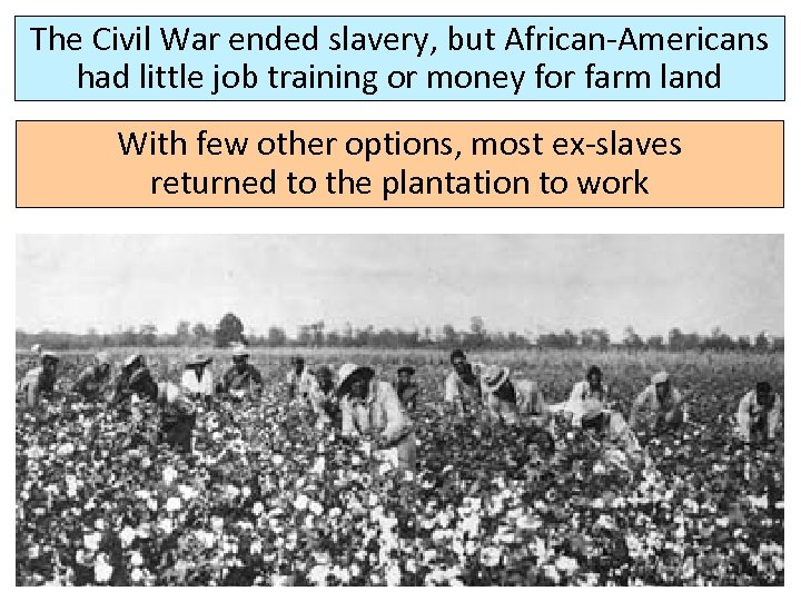 The Civil War ended slavery, but African-Americans had little job training or money for