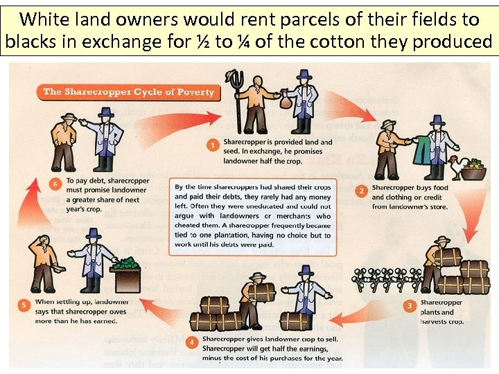White land owners would rent parcels of their fields to blacks in exchange for