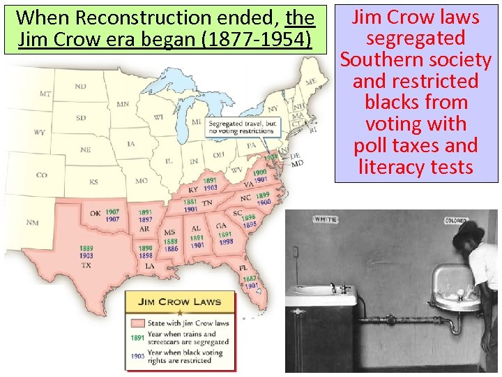 When Reconstruction ended, the Jim Crow era began (1877 -1954) Jim Crow laws segregated