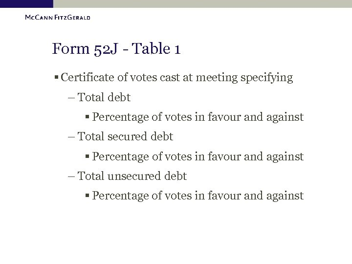 Form 52 J - Table 1 § Certificate of votes cast at meeting specifying