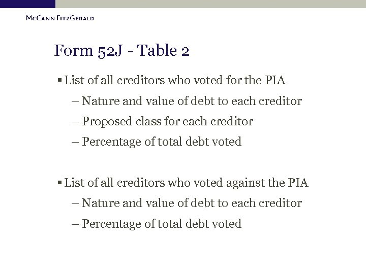 Form 52 J - Table 2 § List of all creditors who voted for