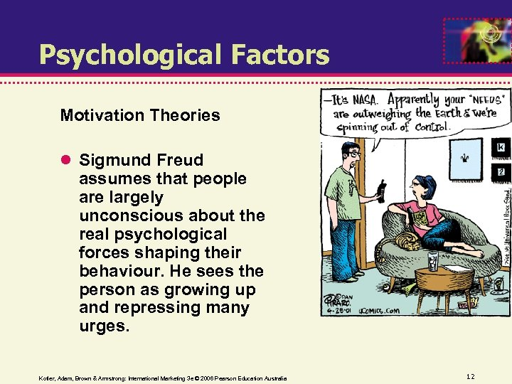 Psychological Factors Motivation Theories Sigmund Freud assumes that people are largely unconscious about the