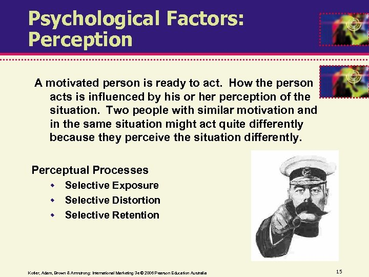 Psychological Factors: Perception A motivated person is ready to act. How the person acts