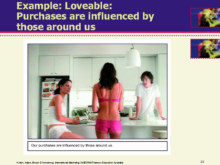 Example: Loveable: Purchases are influenced by those around us Kotler, Adam, Brown & Armstrong: