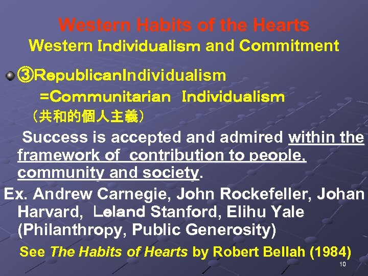 Western Habits of the Hearts Western Individualism and Commitment ③RepublicanIndividualism =Communitarian Individualism (共和的個人主義) Success is