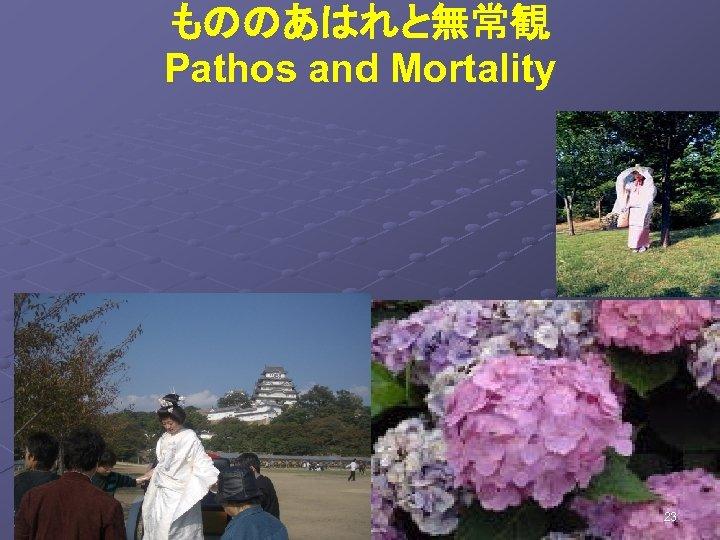 もののあはれと無常観 Pathos and Mortality 花の色は移りにけりな いたずらに わが身世にふる ながめせしまに        小野小町 23