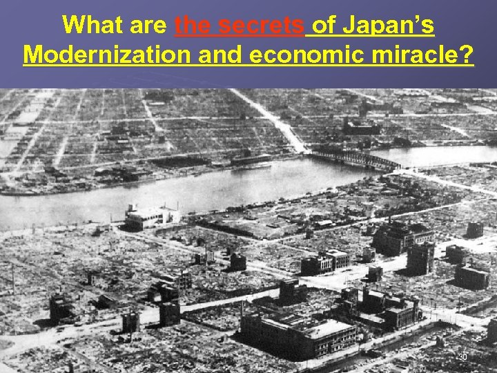 What are the secrets of Japan's Modernization and economic miracle? 30