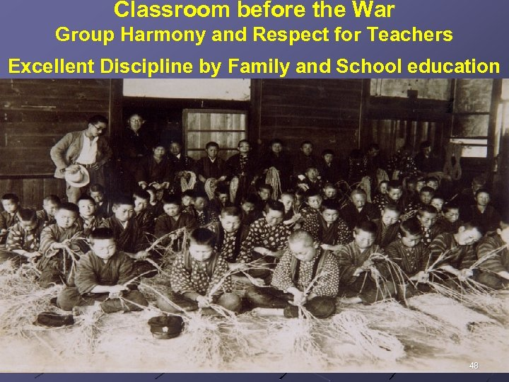 Classroom before the War Group Harmony and Respect for Teachers Excellent Discipline by Family