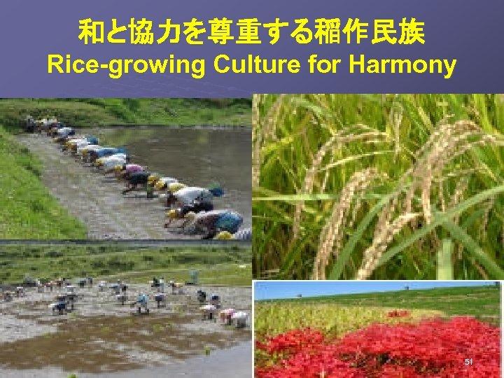 和と協力を尊重する稲作民族  Rice-growing Culture for Harmony  51