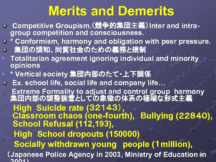 Merits and Demerits Competitive Groupism. (競争的集団主義)Inter and intragroup competition and consciousness. * Conformism,