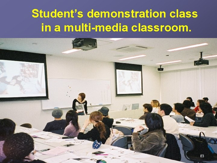 Student's demonstration class in a multi-media classroom. 63