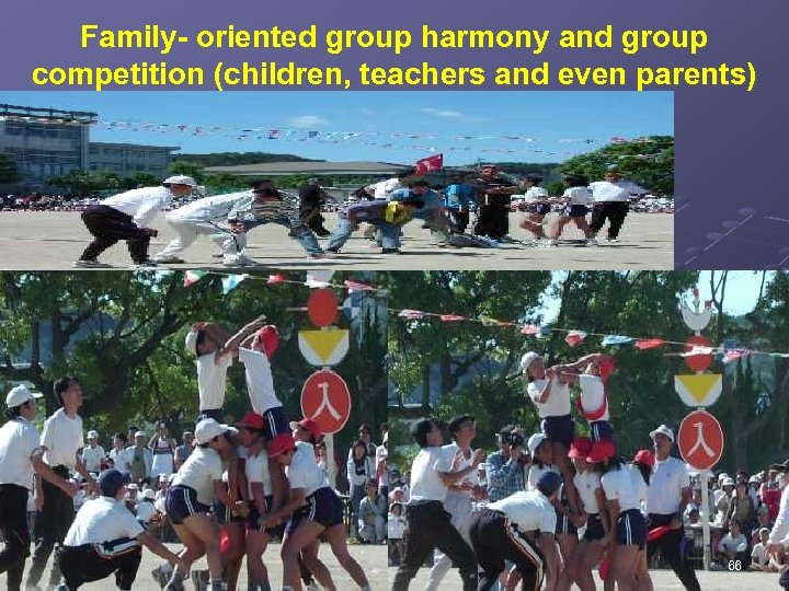 Family- oriented group harmony and group competition (children, teachers and even parents) 66