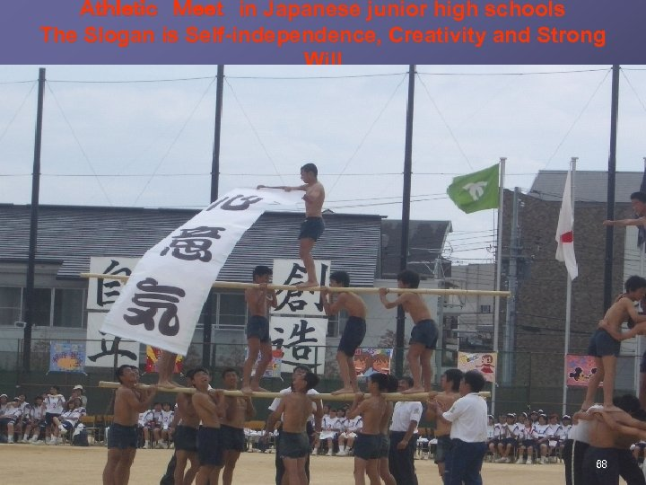 Athletic Meet in Japanese junior high schools The Slogan is Self-independence, Creativity and Strong Will 68