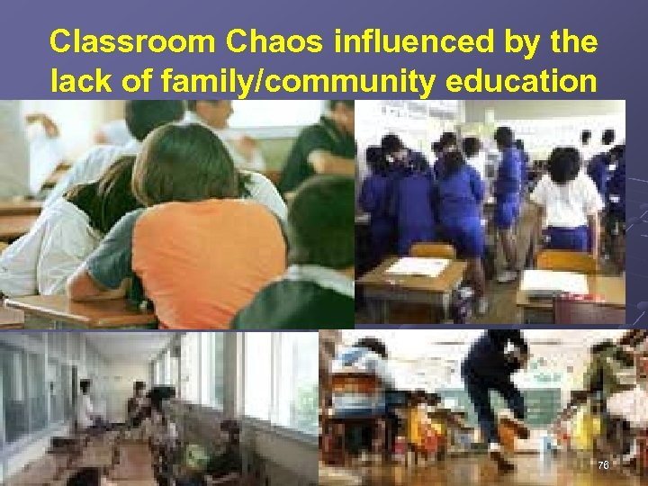 Classroom Chaos influenced by the lack of family/community education 76