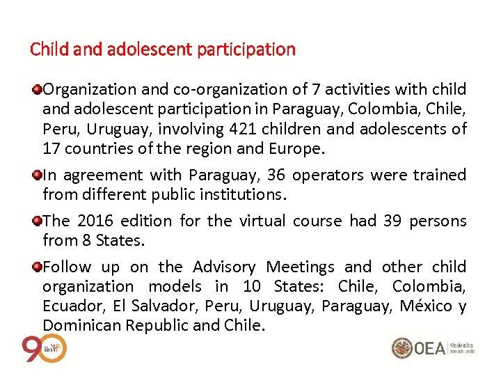 Child and adolescent participation Organization and co-organization of 7 activities with child and adolescent