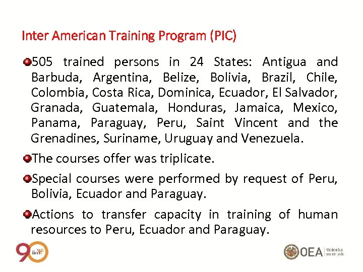 Inter American Training Program (PIC) 505 trained persons in 24 States: Antigua and Barbuda,