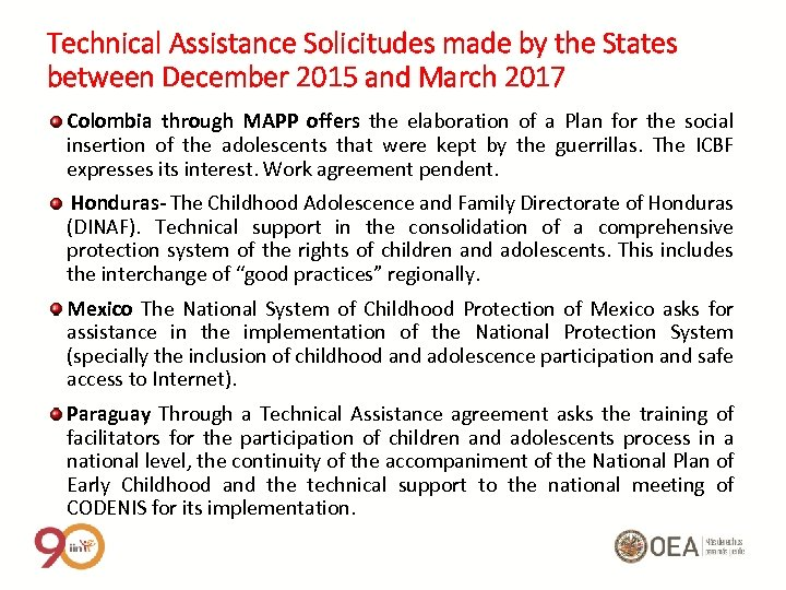 Technical Assistance Solicitudes made by the States between December 2015 and March 2017 Colombia