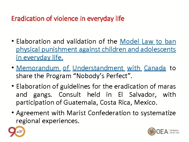Eradication of violence in everyday life • Elaboration and validation of the Model Law