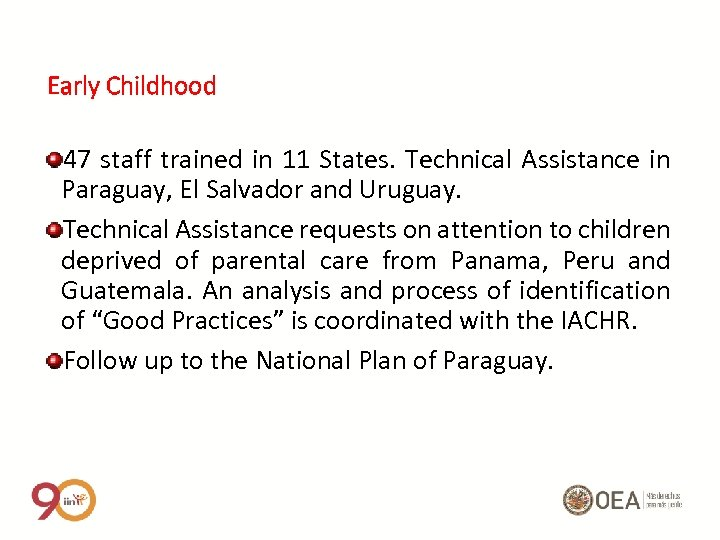 Early Childhood 47 staff trained in 11 States. Technical Assistance in Paraguay, El Salvador