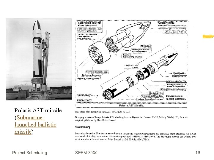 Polaris A 3 T missile (Submarinelaunched ballistic missile) Project Scheduling SEEM 3530 16