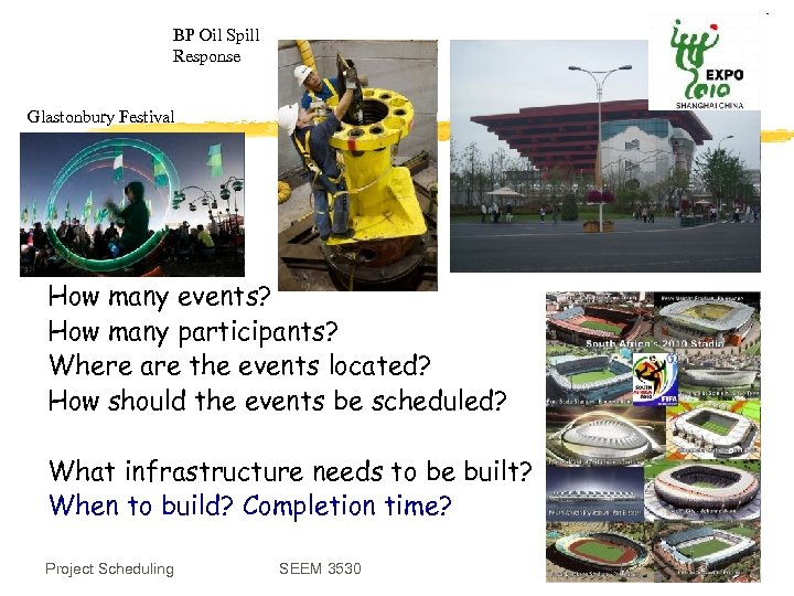 BP Oil Spill Response Glastonbury Festival How many events? How many participants? Where are