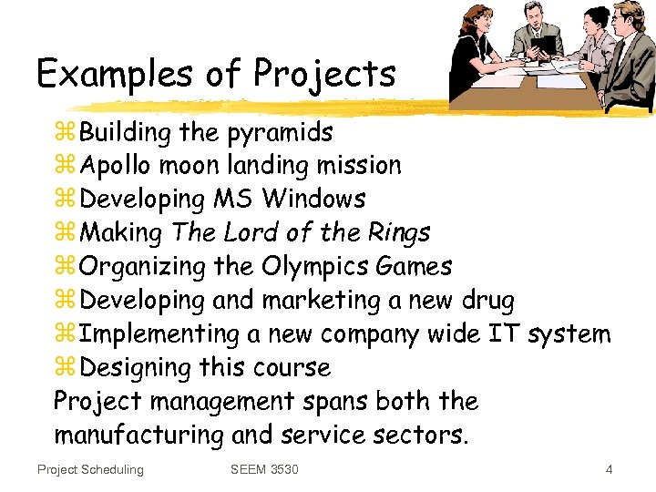 Examples of Projects z Building the pyramids z Apollo moon landing mission z Developing