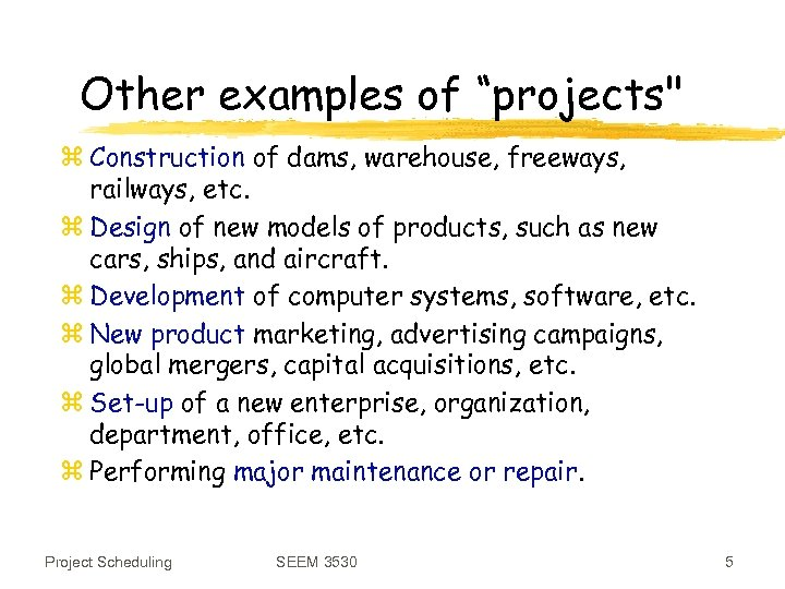 """Other examples of """"projects"""