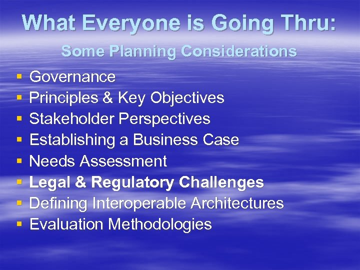 What Everyone is Going Thru: Some Planning Considerations § § § § Governance Principles