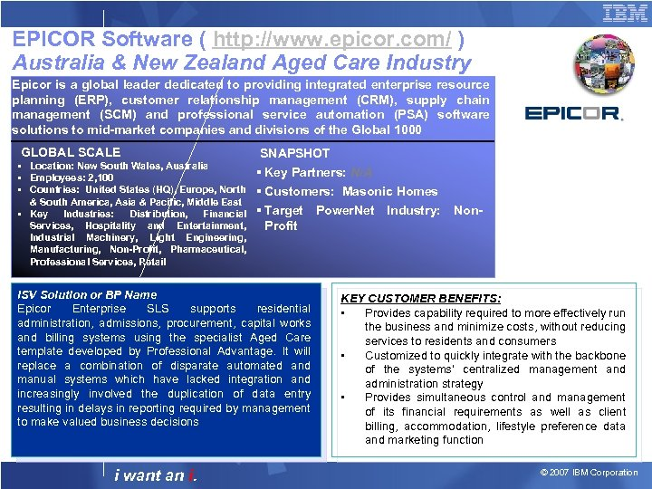 EPICOR Software ( http: //www. epicor. com/ ) Australia & New Zealand Aged Care