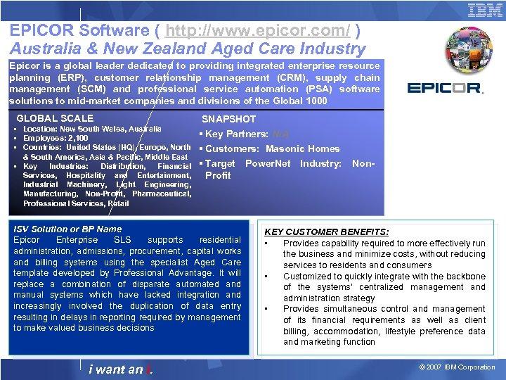 EPICOR Software ( http: //www. epicor. com/ ) Australia & New Zealand Aged Care