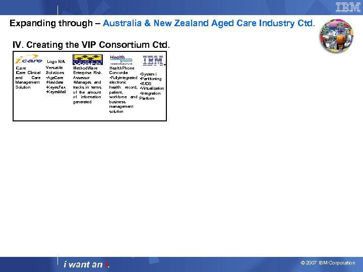 Expanding through – Australia & New Zealand Aged Care Industry Ctd. IV. Creating the