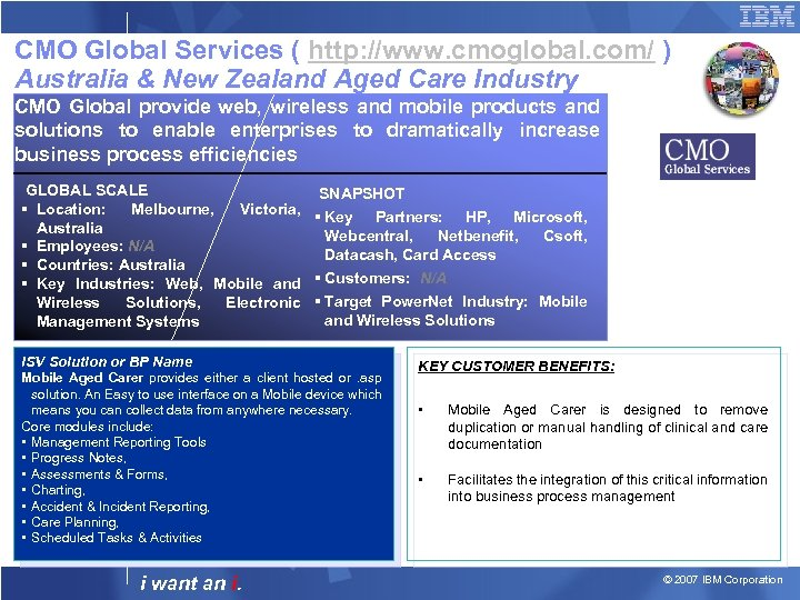 CMO Global Services ( http: //www. cmoglobal. com/ ) Australia & New Zealand Aged