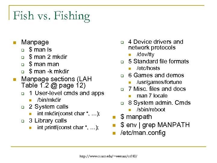 Fish vs. Fishing n Manpage q q n q $ man ls $ man