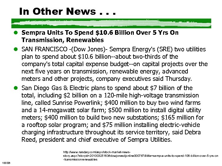 In Other News. . . l Sempra Units To Spend $10. 6 Billion Over