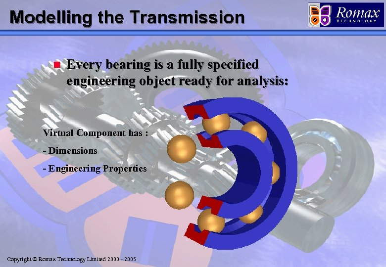 Modelling the Transmission n Every bearing is a fully specified engineering object ready for