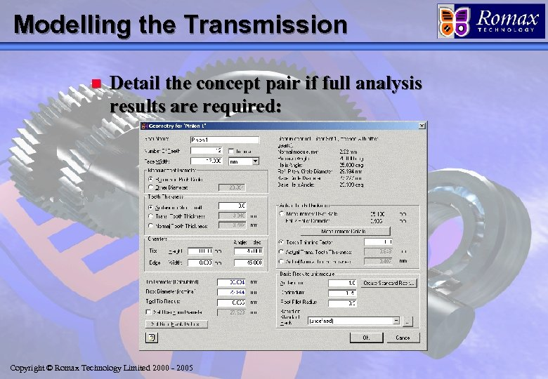 Modelling the Transmission n Detail the concept pair if full analysis results are required: