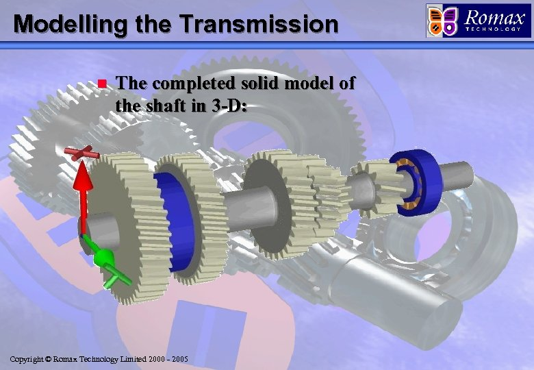 Modelling the Transmission n The completed solid model of the shaft in 3 -D: