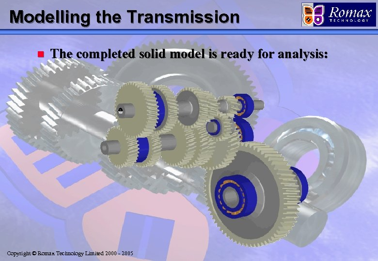 Modelling the Transmission n The completed solid model is ready for analysis: Copyright ©