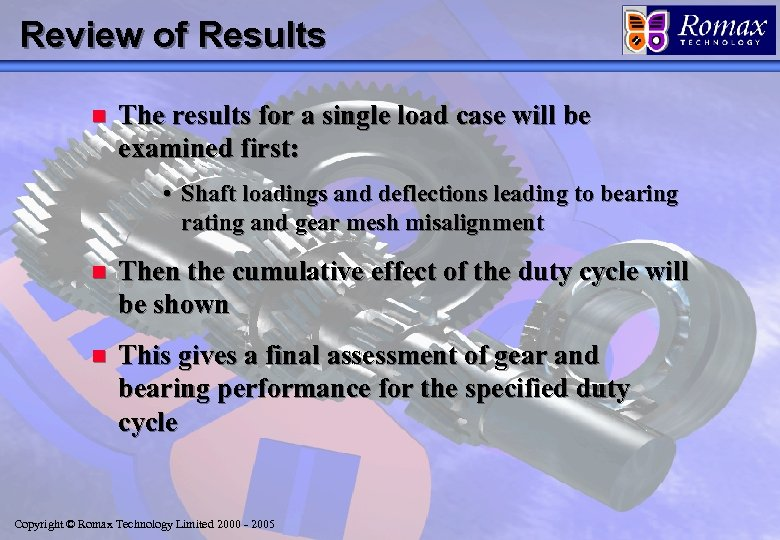 Review of Results n The results for a single load case will be examined