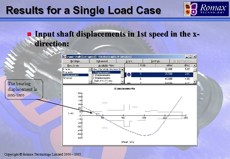 Results for a Single Load Case n Input shaft displacements in 1 st speed