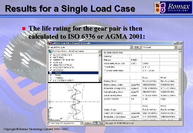 Results for a Single Load Case n The life rating for the gear pair